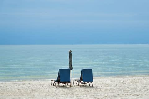 лежаки на пляже у моря